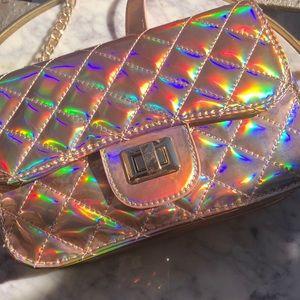Handbags - Rose gold holographic purse